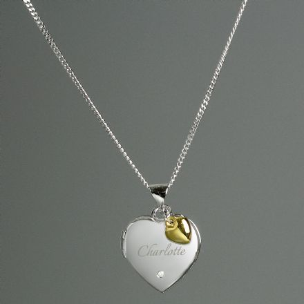 Personalised Sterling Silver Heart Locket Name Necklace with Diamond and 9ct Gold Charm